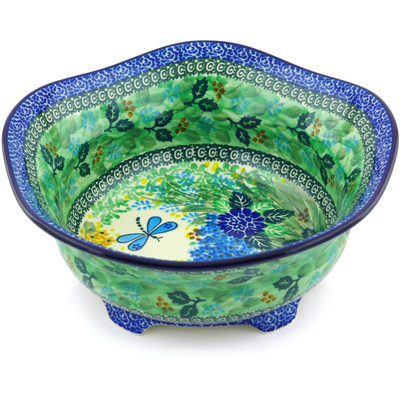 "Polish Pottery Scalloped Bowl 10"" Garden Delight UNIKAT"