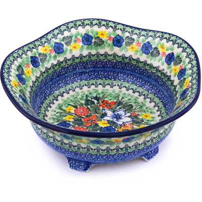 "Polish Pottery Scalloped Bowl 10"" Lily Meadow UNIKAT"