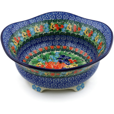 "Polish Pottery Scalloped Bowl 10"" Spring Tulips UNIKAT"