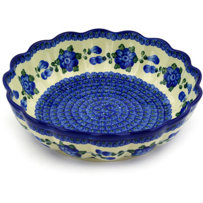 "Polish Pottery Scalloped Bowl 11"" Blue Poppies"