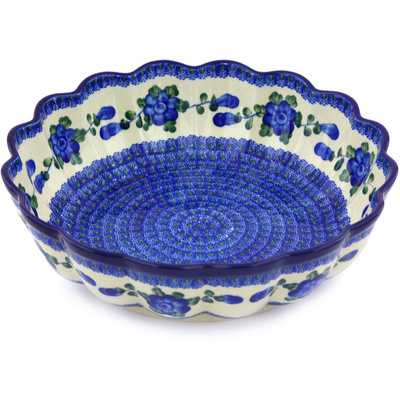 "Polish Pottery Scalloped Bowl 12"" Blue Poppies"