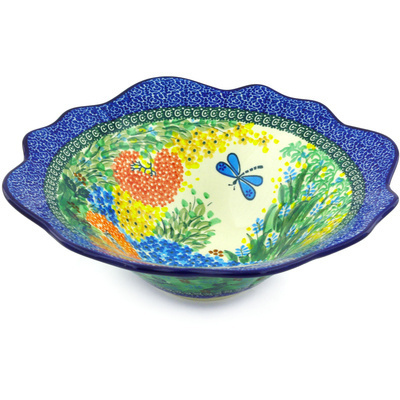 "Polish Pottery Scalloped Bowl 12"" Garden Delight UNIKAT"