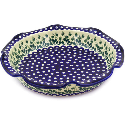 "Polish Pottery Scalloped Bowl 13"" Bleeding Heart Peacock"