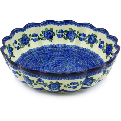 "Polish Pottery Scalloped Bowl 13"" Blue Poppies"