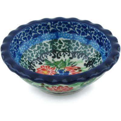 "Polish Pottery Scalloped Bowl 3"" Aviary Oasis UNIKAT"