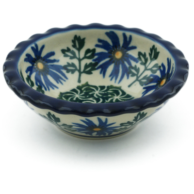 "Polish Pottery Scalloped Bowl 3"" Blue Chicory"