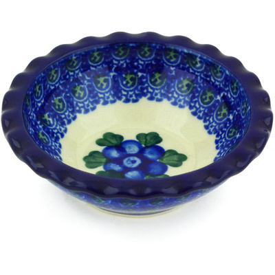 "Polish Pottery Scalloped Bowl 3"" Blue Poppies"