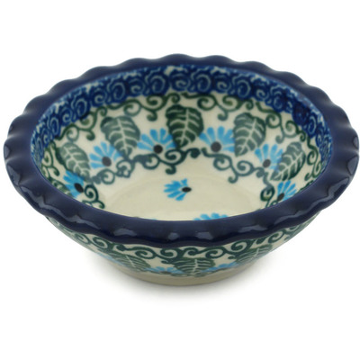 "Polish Pottery Scalloped Bowl 3"" Forget Me Not"