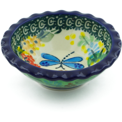 "Polish Pottery Scalloped Bowl 3"" Garden Delight UNIKAT"