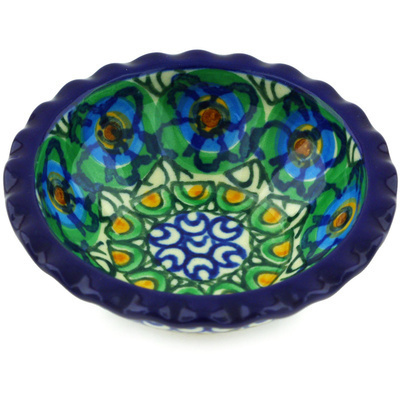 "Polish Pottery Scalloped Bowl 3"" Mardi Gras UNIKAT"