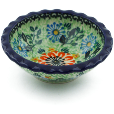 "Polish Pottery Scalloped Bowl 3"" Peach Daisies UNIKAT"