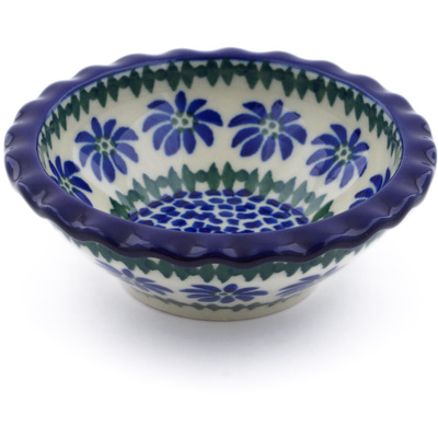 "Polish Pottery Scalloped Bowl 3"" Polka Dot Daisy"