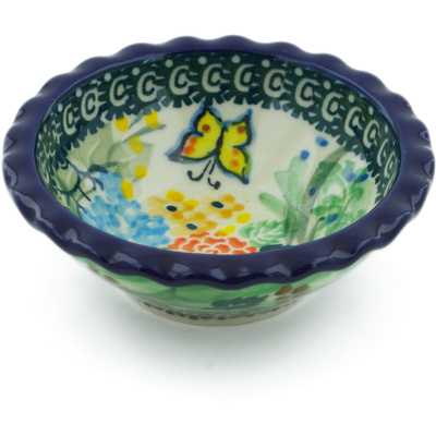 "Polish Pottery Scalloped Bowl 3"" Spring Garden UNIKAT"