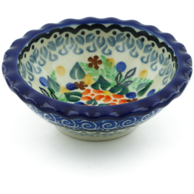 "Polish Pottery Scalloped Bowl 3"" Springtime Wreath UNIKAT"