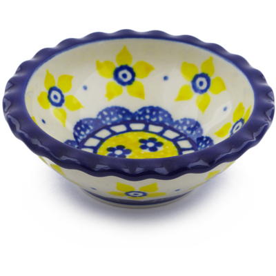 "Polish Pottery Scalloped Bowl 3"" Sunshine"
