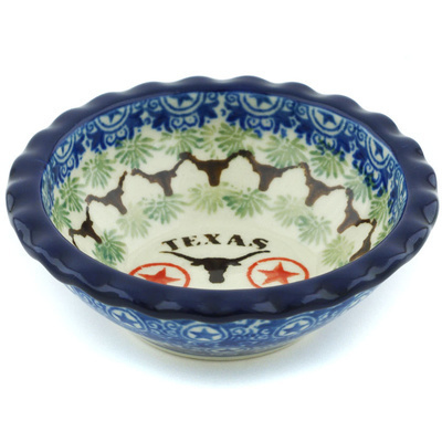 "Polish Pottery Scalloped Bowl 3"" Texas Longhorns"
