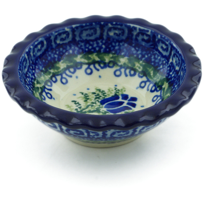 "Polish Pottery Scalloped Bowl 3"" Tulip Motif UNIKAT"