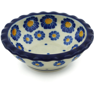 "Polish Pottery Scalloped Bowl 3"" Wreath Of Blue"