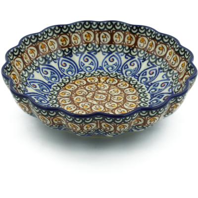 "Polish Pottery Scalloped Bowl 7"" Amber Shores UNIKAT"