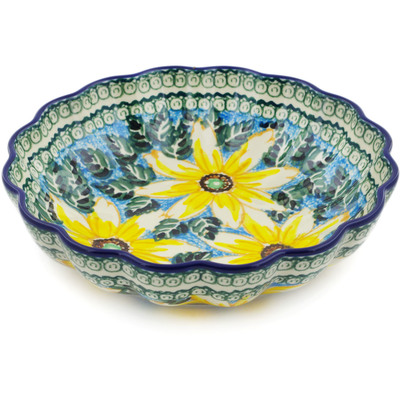 "Polish Pottery Scalloped Bowl 7"" Black Eyed Susan UNIKAT"