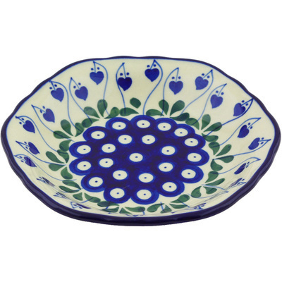 "Polish Pottery Scalloped Bowl 7"" Bleeding Heart Peacock"