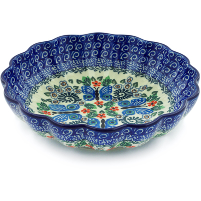 "Polish Pottery Scalloped Bowl 7"" Blue Butterfly Brigade UNIKAT"