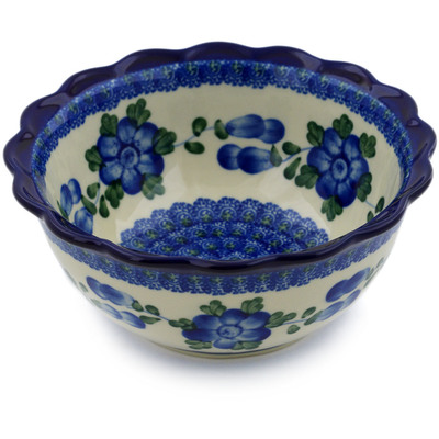 "Polish Pottery Scalloped Bowl 7"" Blue Poppies"