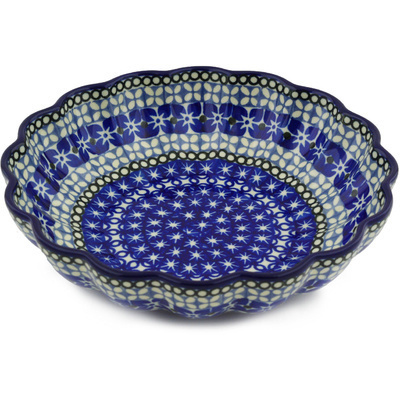 "Polish Pottery Scalloped Bowl 7"" Brilliant Blues UNIKAT"