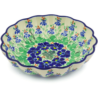 "Polish Pottery Scalloped Bowl 7"" Brilliant Ivy UNIKAT"