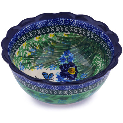 "Polish Pottery Scalloped Bowl 7"" Dragonfly Delight UNIKAT"