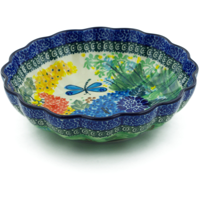 "Polish Pottery Scalloped Bowl 7"" Garden Delight UNIKAT"