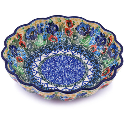 "Polish Pottery Scalloped Bowl 7"" Lupines And Roses UNIKAT"