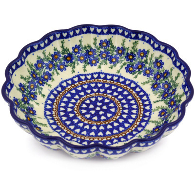 "Polish Pottery Scalloped Bowl 7"" Mother's Love UNIKAT"