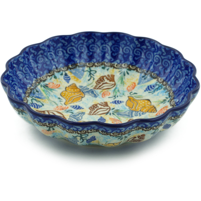 "Polish Pottery Scalloped Bowl 7"" Ocean Whisper UNIKAT"