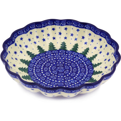"Polish Pottery Scalloped Bowl 7"" Piney Forest UNIKAT"