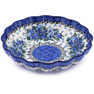 "Polish Pottery Scalloped Bowl 7"" Rhapsody In Blue UNIKAT"