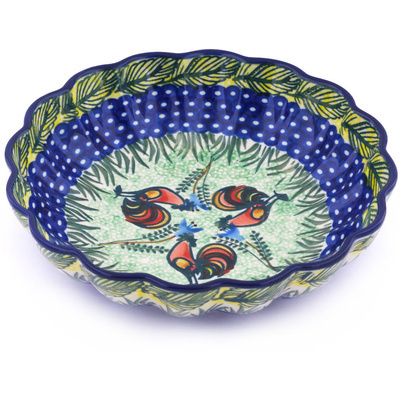 "Polish Pottery Scalloped Bowl 7"" Rooster Parade UNIKAT"