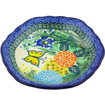 "Polish Pottery Scalloped Bowl 7"" Spring Garden UNIKAT"