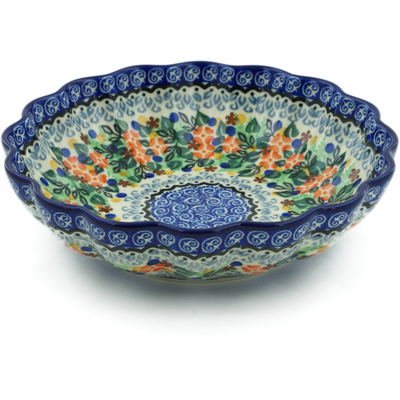 "Polish Pottery Scalloped Bowl 7"" Springtime Wreath UNIKAT"