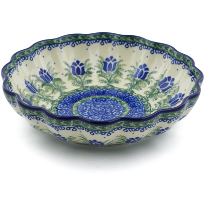 "Polish Pottery Scalloped Bowl 7"" Tulip Motif UNIKAT"