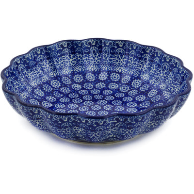 "Polish Pottery Scalloped Bowl 7"" Winter Frost"