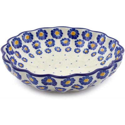 "Polish Pottery Scalloped Bowl 7"" Wreath Of Blue"