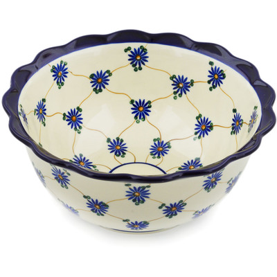 "Polish Pottery Scalloped Bowl 9"" Aster Trellis"