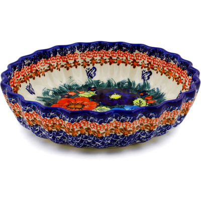 "Polish Pottery Scalloped Bowl 9"" Butterfly Splendor UNIKAT"