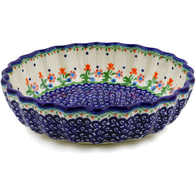 "Polish Pottery Scalloped Bowl 9"" Spring Flowers"