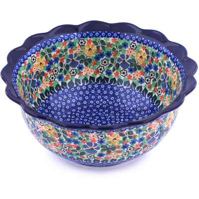 "Polish Pottery Scalloped Bowl 9"" Spring Garden UNIKAT"