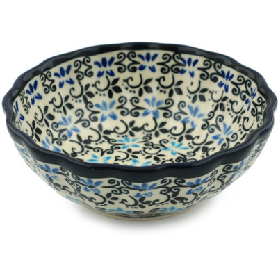 Polish Pottery Scalloped Bowl Small Black And Blue Lace