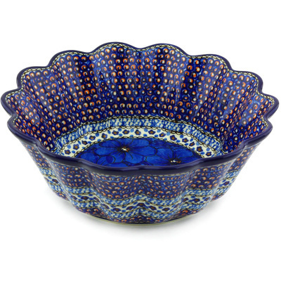 "Polish Pottery Scalloped Fluted Bowl 11"" Cobalt Poppies UNIKAT"