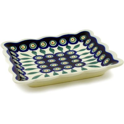 "Polish Pottery Scalloped Platter 6"" Peacock Leaves"