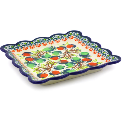 "Polish Pottery Scalloped Platter 6"" Red And Green Berries"